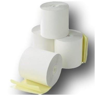 5 Rouleaux, bobine de caisse autocopiant 2 feuillets  blanc - jaune 76 x 70 x 12 mm pour imprimante impact
