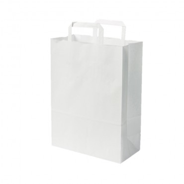 Sacs boutique papier 11 Litres avec poignées blanc