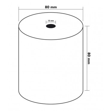 Bobine Papier Thermique, 80 x 80 x 12 mm, rouleau thermique pour ticket de caisse et reçus. 1 pli